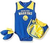 Outerstuff NBA NBA Newborn & Infant Golden State Warriors Overtime Bodysuit, Bib & Bootie Set, Blue, 3-6 Months