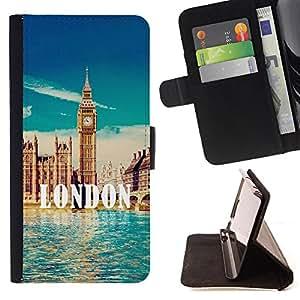 Dragon Case- Caja de la carpeta del caso en folio de cuero del tir¨®n de la cubierta protectora Shell FOR HTC One M9- London City Love it United Kingdom