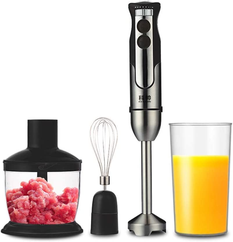 XIAO WEI 4-in-1 Hand Blender Set Kitchen Hand Mixer Stainless Steel Hand Mixer Mixer 800W Mixer Mixer Chopper Food Processor Hand Mixer 600ml Container Beaker