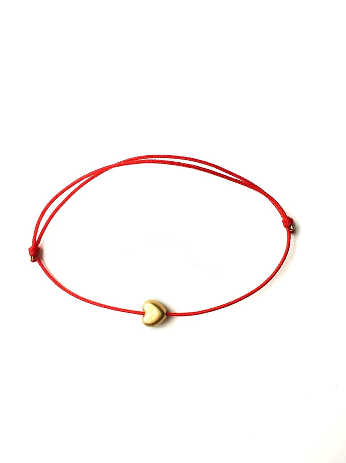 Naz Collection Gold Plated Shiny 6mm Heart Charm Red String Love Bracelet B01AYNL2PY_US