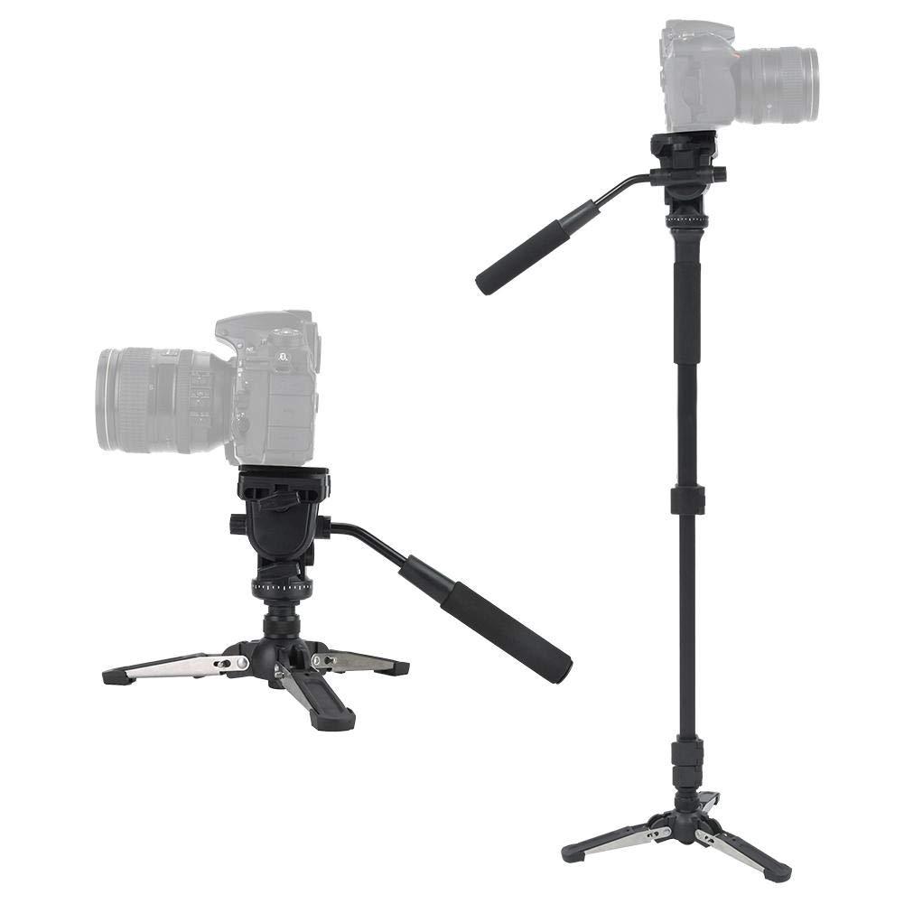 Mugast 288 Camera Monopod 58.3In Professional Video Monopod with Tripod Base and 360 Degree Panoramic Fluid Head for Canon Nikon DSLR