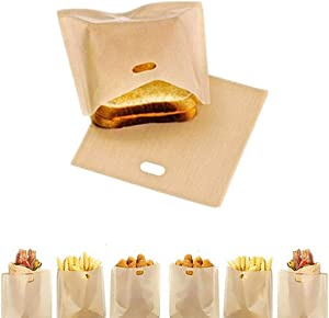 Toaster Bags, 10pcs Reusable Non-Stick Sandwich Toaster Bags Washable Heat Resistant Sandwich Bag Pockets for Grilled Cheese,Pizza,Panini