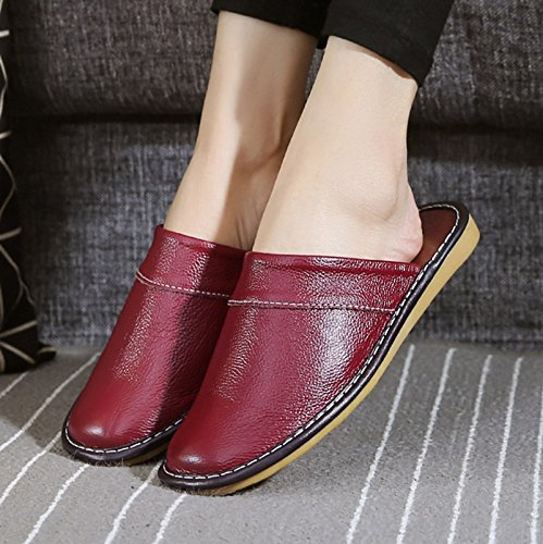 fitting couple anti fankou Cool 35 36 slippers stay slippers red wine indoor spring a slip summer men's room qSPF0zSfg