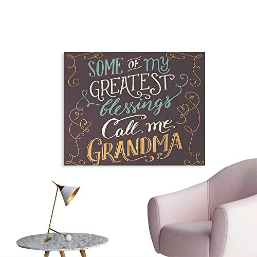 Tudouhoho Grandma Poster Print Greatest Blessings Call me Grandma Quote with Ornamental Swirled and Curved Lines Photographic Wallpaper Multicolor W48 xL32