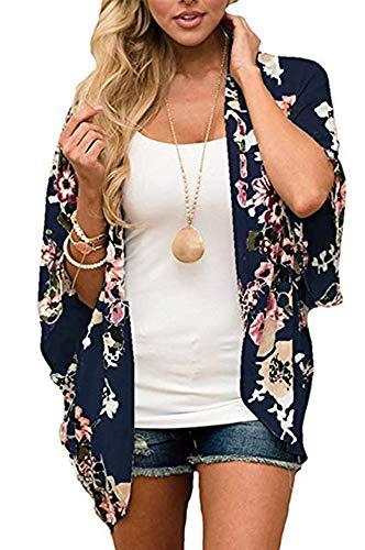 Womens Floral Kimono Cardigans Sheer Print Chiffon Loose Cover ups ( Navy Blue,3XL