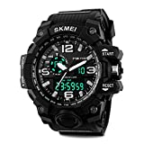 Aposon Men's Large Dual Dial Analog Digital Quartz lectronic Sport Watch Multifunction Two Timezone 24H Military Time Waterproof Casual Back Light 164FT 50M Water Resistant Calendar Day Date - Black