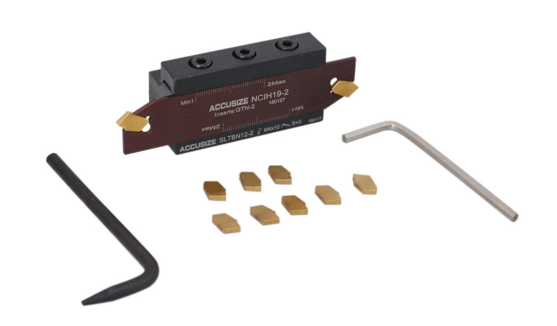 Accusize Tools - 1/2'' Self-Lock Carbide Cut-Off Tool Set; SLTBN 12-2 (1/2'') Tool Block Includes 1 Pc NCIH-19-2 Blade + 10 Ps Tin Coated Carbide Inserts GTN-2 C5 0.087 Width, 2410-0012