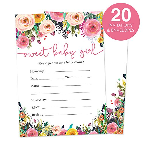 Floral Baby Shower Invitations for A Girl Fill In Style 20 Count - Watercolor Flowers - Flower Shower Invitation