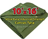 Ultrong Duty 10'x16' Cut Size Industrial Strength Green Polyester Canvas Tarp with Brass Grommets Approx Every 2 Feet All Round