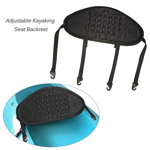 Lixada 1pc Adjustable Kayaking Canoeing Sit On Top Kayak Seat Back Rest Seat Backrest Support Back Pad Band Antiskid Cushiony Black