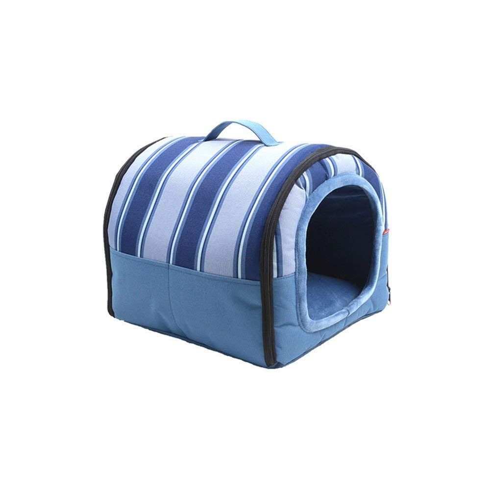 L-604550CM DQMSB Foldable Dual-use Washable Pet Waterloo bluee Cat and Puppy Bed Provides Privacy and Warmth for Better Sleep Waterproofing pet Bed (Size   L-60  45  50CM)