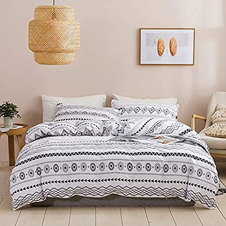 White Black Triangle Bedding Set Twin,Adult Men Reversible Geometric Striped Modern Duvet Cover Kids Women Luxury Hotel Soft Breathable Grid Lines Pattern Comforter Cover with Zipper,1 Pillowcase