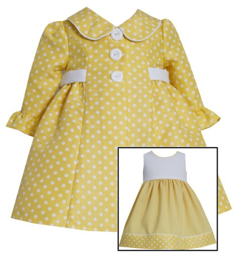 Bonnie Jean Girls Polka Dot Jacquard Coat & Dress Set, Yellow, 4T (Dress Coat Jacquard)