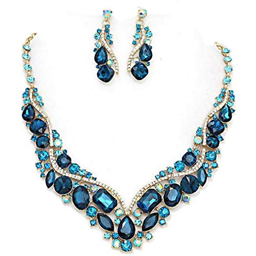 Affordable Wedding Jewelry Chunky Statement Women Teal Blue Ab Austrian Crystal Earrings Gold Chain Pageant Necklace Set