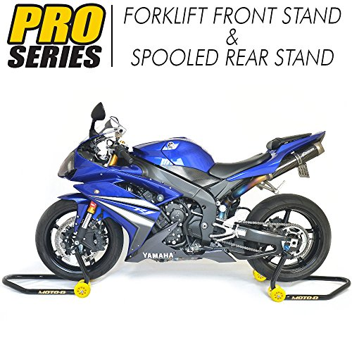 MOTO-D PRO-Series Motorcycle Stands (Forklift Front Stand + Rear Spooled Stand) Combo