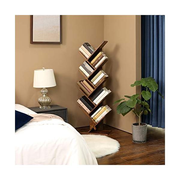 VASAGLE Étagère à 8 Niveaux, Bibliothèque, Style Industriel, Meuble de Rangement, en Forme Arbre, pour Salon, Bureau…