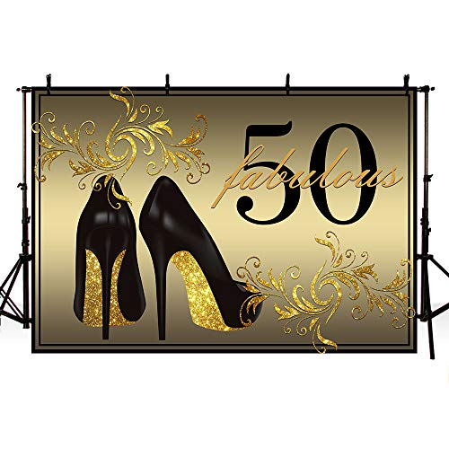 MEHOFOTO Gold Photo Background Fabulous 50 High Heels Champagne Woman 50th Happy Birthday Party Banner Backdrops for Photography 8x6ft
