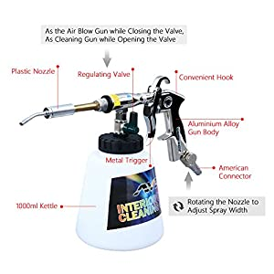 VGEBY Car Cleaning Gun, Professional Washing Blow Gun with 1000ml Kettle for Car Interior Care