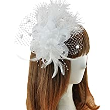 Fascinator Feather Hair Clip Brooch Pin Wedding Bridal Headpiece for Women