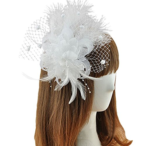 Coolr Fascinator Hair Clip Feather Wedding Headwear Bridal Headpiece for Women (White) ()