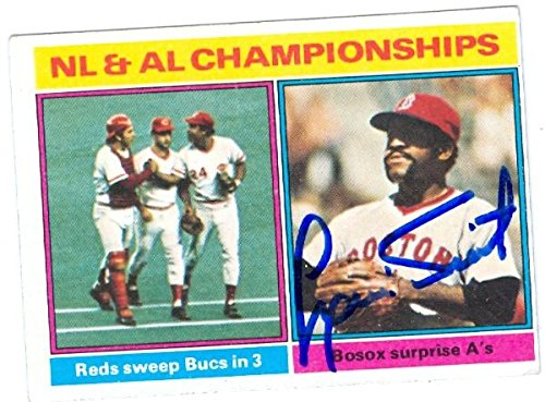 Luis Tiant autographed baseball card (Boston Red Sox) 1976 Topps #461 Championship Series Highlights ()
