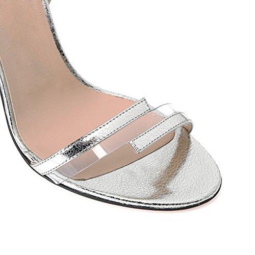 Grande Soirée De PVC Haut Femme Sexy Coutures Silver 40 Talon Club Cuir Sandales Mode Taille De Transgenre KJJDE Mariage en Fête Plateforme 910 TLJ ZvWHnWx6