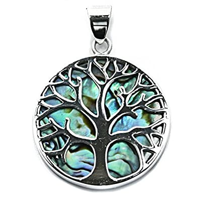 Solid Sterling Silver & Abalone Tree of Life Yggdrasill Pendant Pagan (P078) 2HEesngVhv