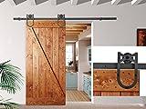 New 6FT Black Wood Steel Sliding Door Hardware Track Set Antique Horseshoe Style