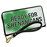 Wallet Clutch Ready For Shenanigans St. Patrick's Day Large Shamrock with Removable Wristlet Strap Neonblond