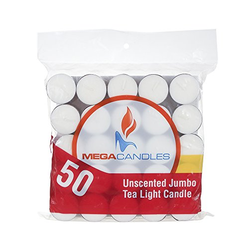 Mega Candles - Unscented Jumbo Tea Light Candle - White, Set of 50