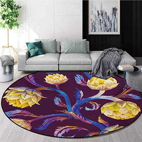 RUGSMAT Artichoke Non Slip Round Rugs,Art Nouveau Style Arrangement with Vibrant Colored Vegetable Vegan Oriental Floor and Carpets,Round-35 Inch Plum Dark Blue and Yellow (Plum Rugs Coloured)