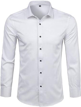 YFSLC-Studio Camisa De Manga Larga Hombre,Blanco Vestido De ...