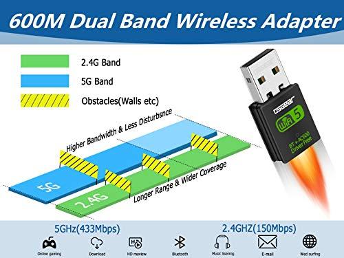 OSGEAR USB Bluetooth WLAN Stick WiFi Adapter kabelloser Netzwerk Dongles für PC Laptop Desktop Mini Größe 600 Mbit/s Dual Band 2.4GHz / 5GHz 802.11ac/n/g/b für Windows 10, 8, 7, XP, Vista, Mac