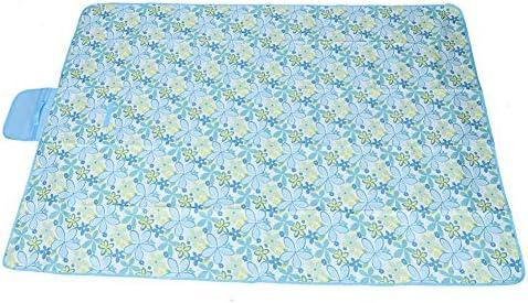 Cikonielf Grande stuoia da Picnic Impermeabile a Prova di umidità, stuoia di Oxford, stuoie da Campeggio Portatili, Motivo Floreale Azzurro(145 * 200cm)