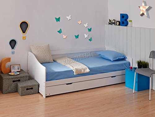 WestWood Single 3ft Day Bed White Frame with Trundle Guest Solid Wood...