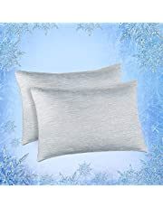 Elegear Cooling Pillowcases for Night Sweats and Hot Flashes, Japanese Q-Max 0.4 Cooling Fiber, Breathable Soft Both Sides Pillow Case with Hidden Zipper, Set of 2, Gray