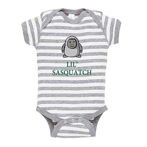 Lil' Sasquatch Baby Kid Stripe Fine Jersey Bodysuit Grey 6 (Sasquatch Suit)
