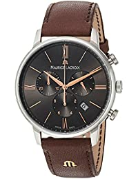 Men's 'Eliros' Quartz Stainless Steel and Leather Casual Watch, Color Brown (Model: EL1098-SS001-311-1)