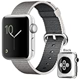 Apple Watch Series 2, 42mm Silver Aluminum Chassis with Ion-X Glass + Pearl Woven Nylon Band