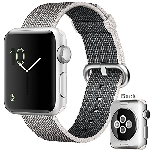 Apple Watch Series 2, 42mm Silver Aluminum Chassis with Ion-X Glass + Pearl Woven Nylon Band by AppIe