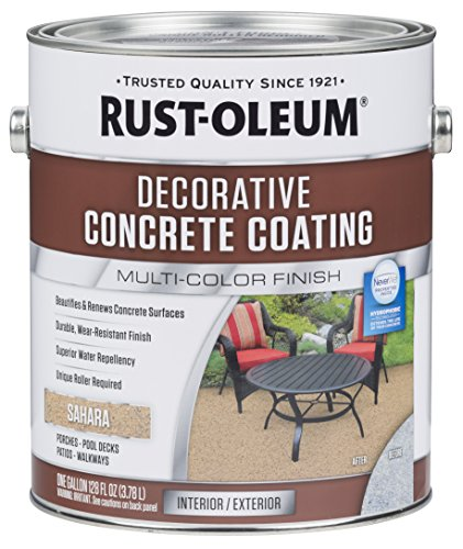 Paint Walkway Concrete (Rust-Oleum 301297 Sahara Decorative Concrete Coating)