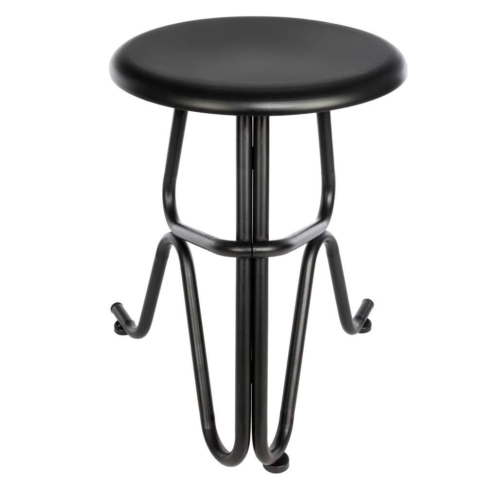 Thxbye Kitchen Counter Stool Creative Human Shaped Non-Foldable Round Iron Stool Black