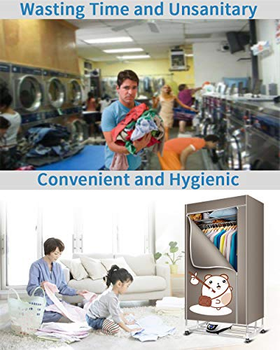 KASYDoFF Clothes Dryer Portable 3-Tier Foldable Clothes Drying Rack Energy Saving Anion 1.7 Meters Clothing Dryers Digital Automatic Timer with Remote Control for Apartment House