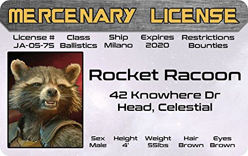 The Collector Guardians Of The Galaxy Costume (ROCKET RACOON Guardians of the Galaxy of Marvel Comics fun fake ID / Bradley Cooper Drivers License)