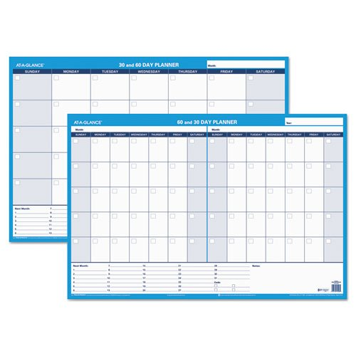 30/60-Day Undated Horizontal Erasable Wall Planner, 36 x 24, White/Blue,, Sold as 1 Each