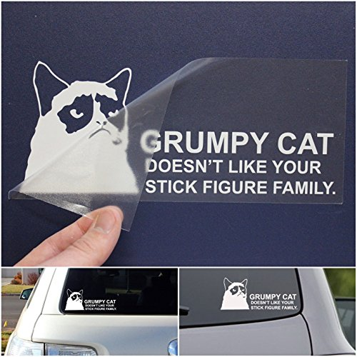 (1 Set Brilliant Unique Grumpy Cat Doesn't Like Your Stick Figure Family Car Window Sticker Decor Vinyl Decals Graphics Laptop Art Wall Patches Funny Windows Stickers Decal Size 8