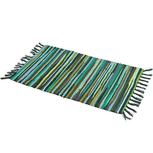 Zeafeel Chindi Rag Rug, Machine Washable Cotton Reversible Rag Rug Hand Woven Multi Color Striped Area Rug Floor Rugs for Bedroom, Living Room, Kitchen and Laundry Room  (20'' - Rug Green Woven