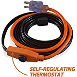 Cold Weather Pipe and Valve Heating Cable with Built-in Thermostat - 9 Feet