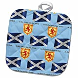 3dRose 777images Flags and Maps - Europe - Scotland flag, coat of arms and motto pattern on light blue background - 8x8 Potholder (phl_165747_1)