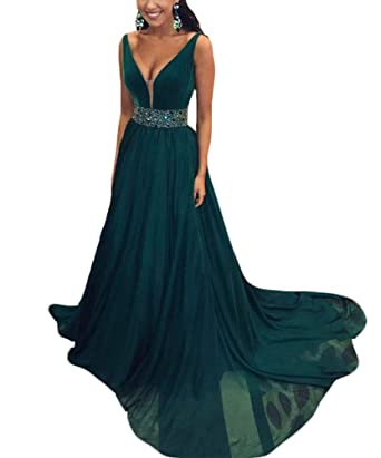 wildestdreamsbridal 2018 Womens Sexy V Neck A Line Prom Dresses Long Vestidos de Fiesta at Amazon Womens Clothing store: